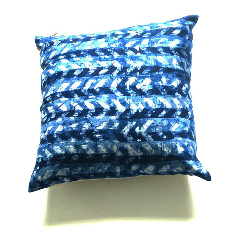 Blue Chevron Batik Blockprinted Linen Pillow  20 x 20