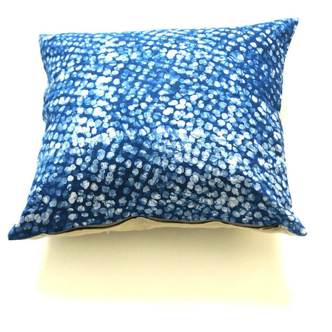 Blue Dot Batik Blockprinted Linen Pillow 20 x 20