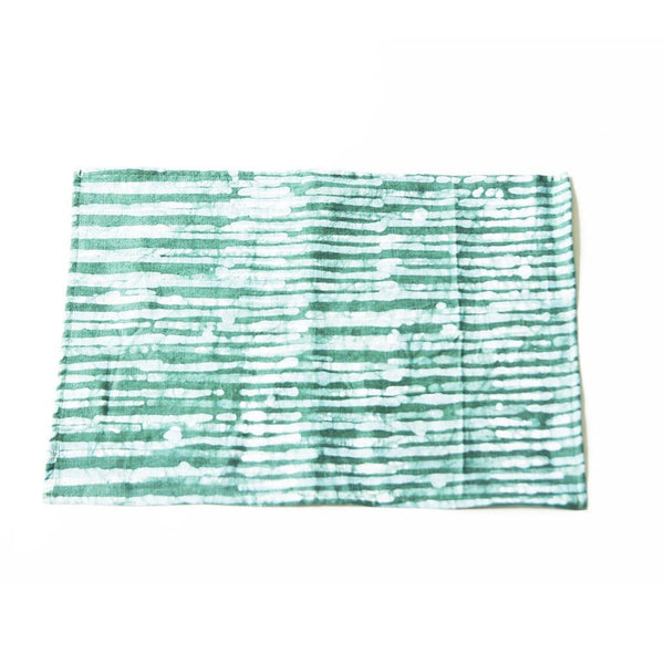 Linen Placemat Teal Green Reeds Stripe Batik Block Printed Set of 4