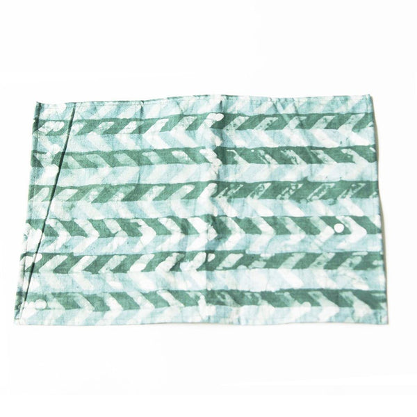 Linen Placemat Teal Green Chevron Hand Batik Block Printed