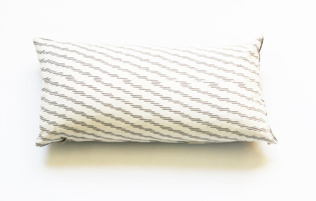 Lumbar Toss Pillow White Grey Cotton Ikat Zebra Stripe