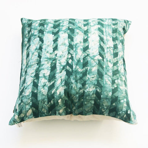 Emerald Green Linen Pillow Cover Chevron Batik Blockprinted