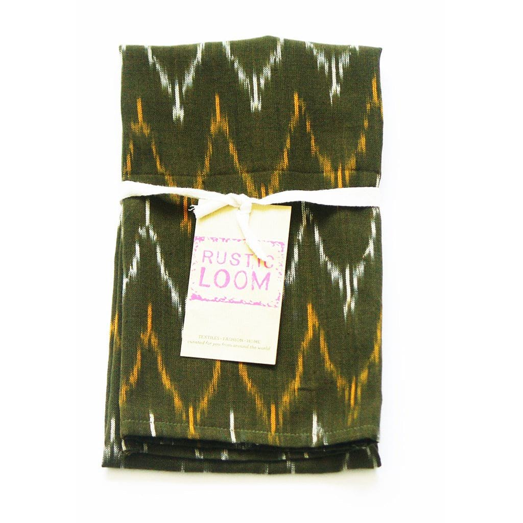 Olive Green Ikat Kitchen Tea Towel Cotton Handwoven Dash