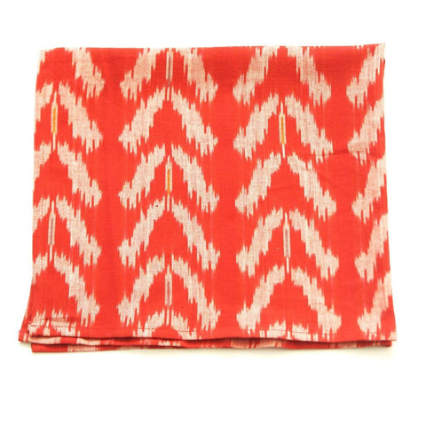 Orange Cloth Dinner Napkin Handwoven Ikat Tulip Set of 4