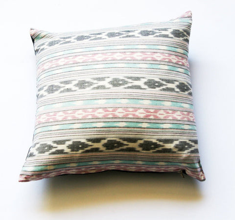 Square Toss Pillow Aqua Pink Grey Ikat Stripe Handwoven