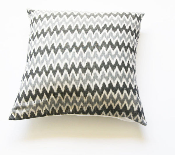 Square Toss Pillow- Grey Ikat Zig Zag Stripe- Handwoven- 20x20 Throw Pillow