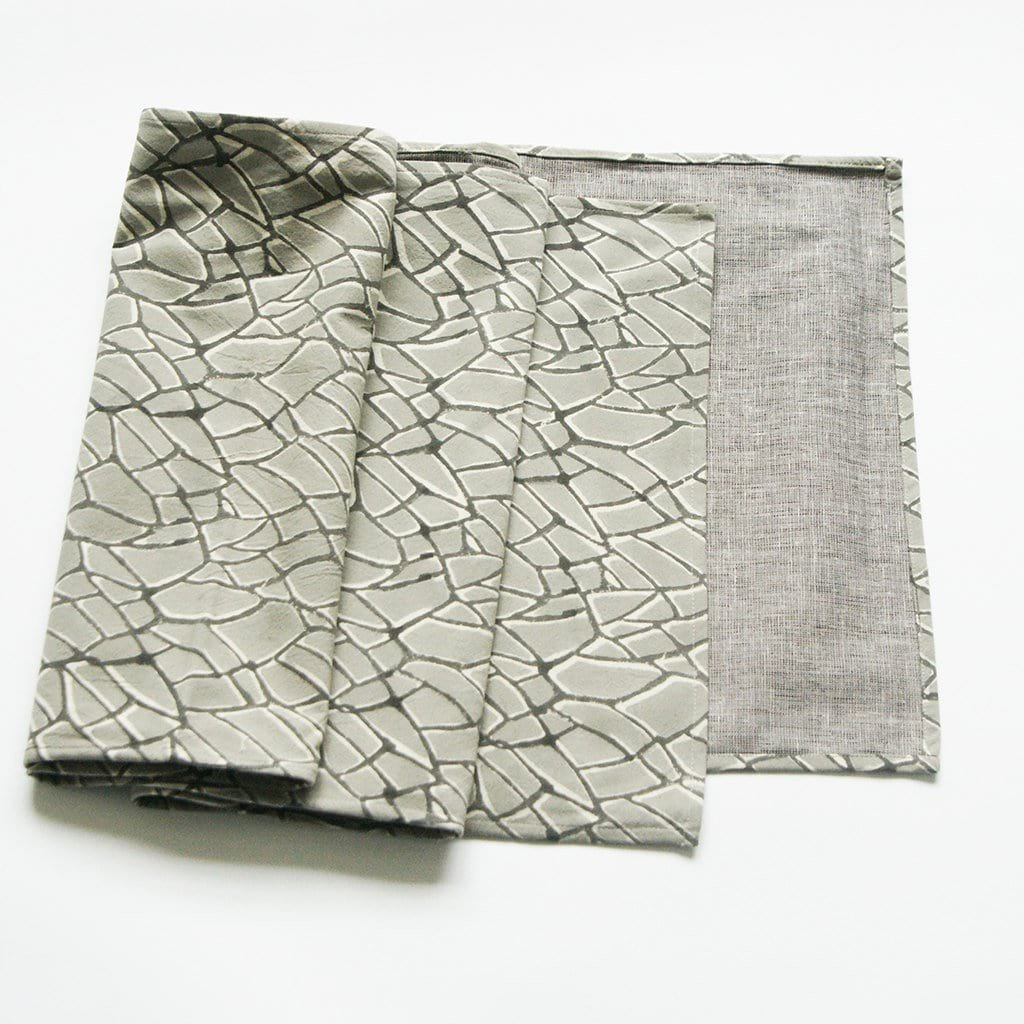 Grey Table Runner Hand Blockprinted Cotton Branch Pattern