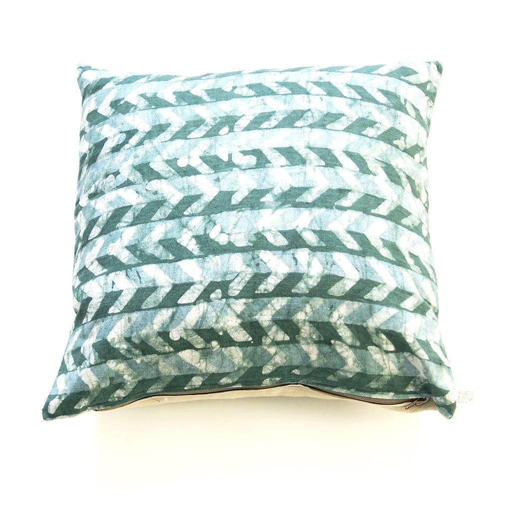Teal Green Linen Pillow Cover Chevron Batik Blockprinted Throw Pillow