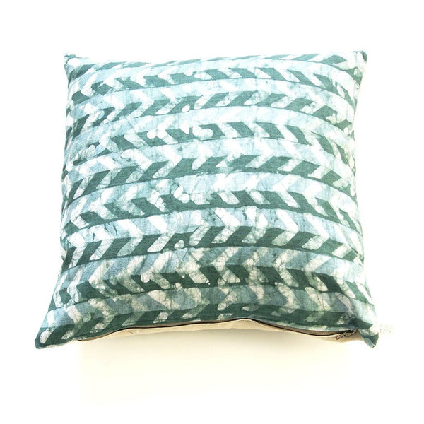 Teal Green Linen Pillow Cover Chevron Batik Blockprinted