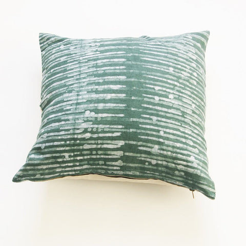 Linen Pillow Cover Thin Stripe Batik Blockprinted Throw Teal Green