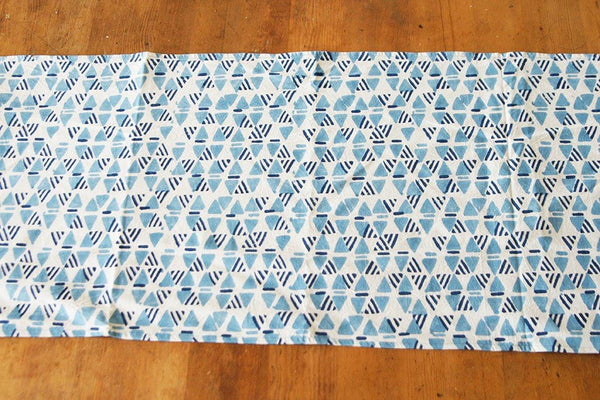 Handprinted Table Runner White and Blue Triangle Geometric
