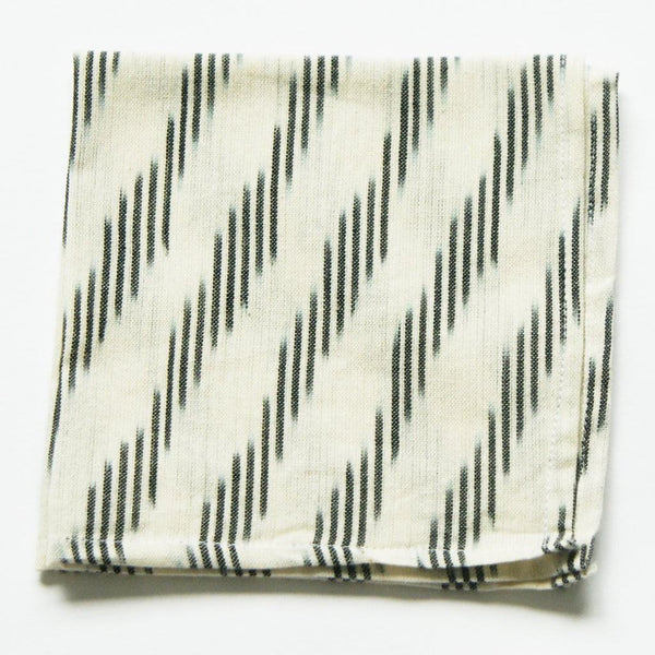 White Grey Stripe Ikat Cloth Cocktail Napkin Set of 4