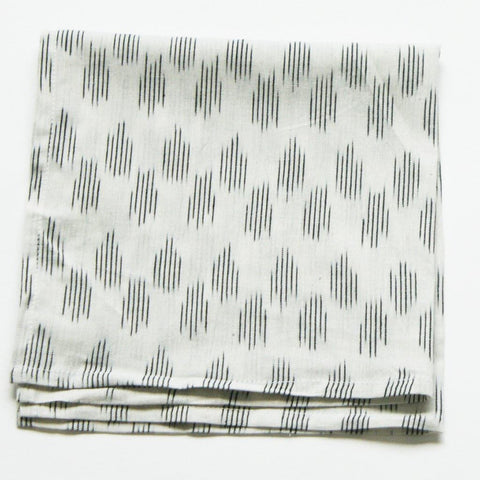 White Modern Dot Handwoven Ikat Dinner Napkin Set of 4
