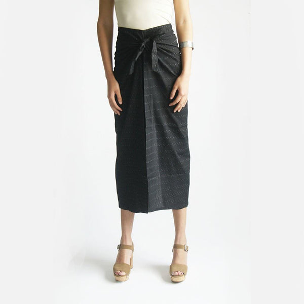 Wide Leg Cotton Wrap Pants Black Ikat Palazzo Wide Leg Trousers