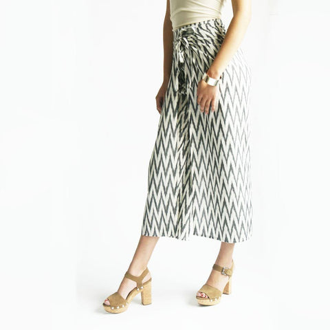 Wide Leg Pants White Grey Zig Zag Ikat Wrap Palazzo