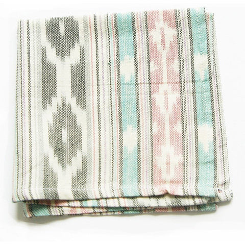 Pastel Ikat Agua Pink Grey Cocktail Napkin Set of 4