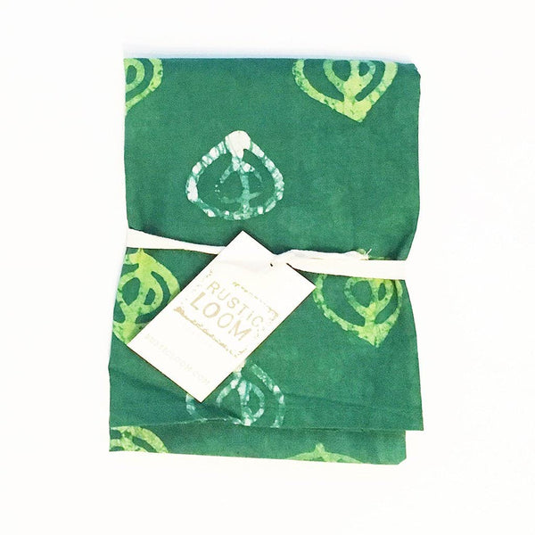 Kitchen Tea Towel Handprinted Cotton Batik Green Fig