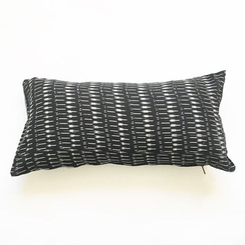 Grey Ikat Stripe Lumbar Toss Pillow Zebra Stripe Throw Pillow