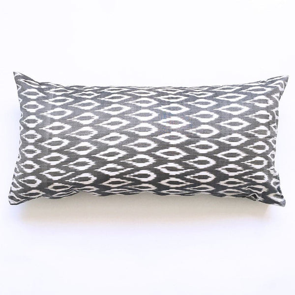 Grey Oval Cotton Woven Ikat Lumbar Toss Pillow 12 x 24