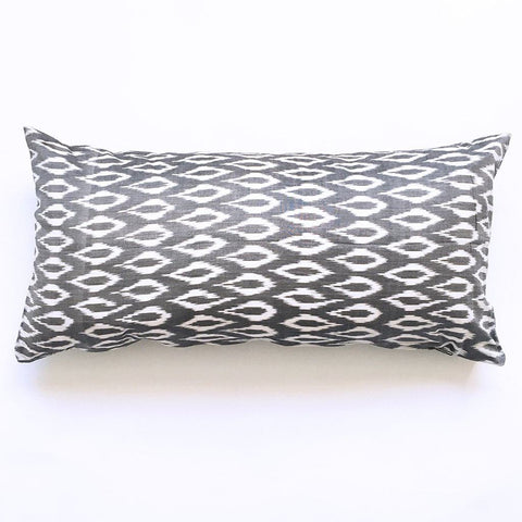 Grey Oval Ikat Lumbar Toss Handwoven Throw Pillow