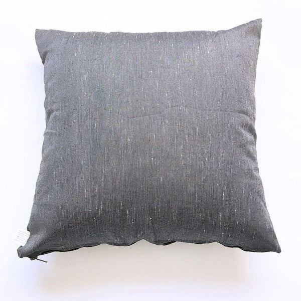 Grey Oval Cotton Ikat Woven Pillow 20 x 20