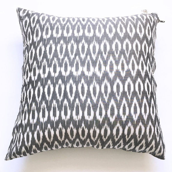 Grey Oval Ikat Pillow Handwoven Cotton Throw