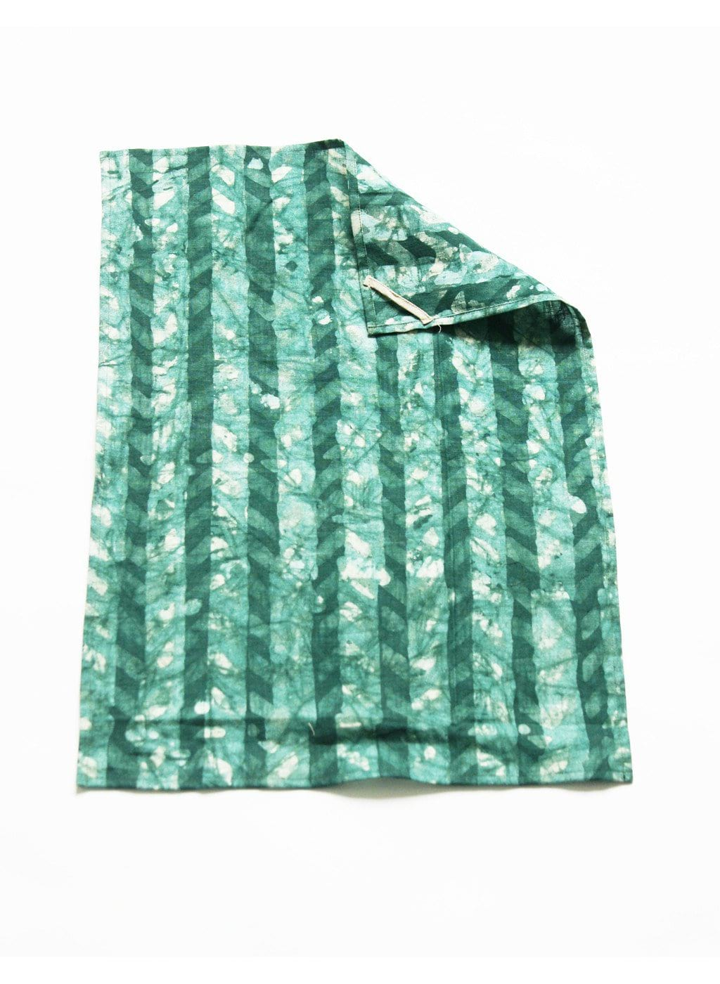 Emerald Green Chevron Linen Kitchen Tea Towel Handprinted Batik