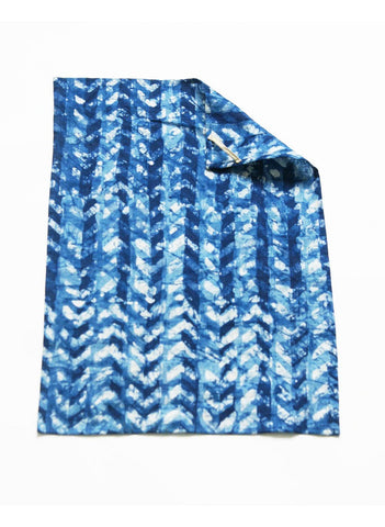 Indigo Blue Linen Chevron Kitchen Tea Towel Handprinted Batik