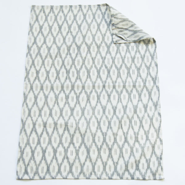 White Ogee Pattern Handwoven Cotton Ikat Tea Towel