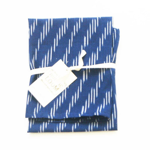 Cotton Woven Ikat Tea Towel Indigo Zebra Stripe