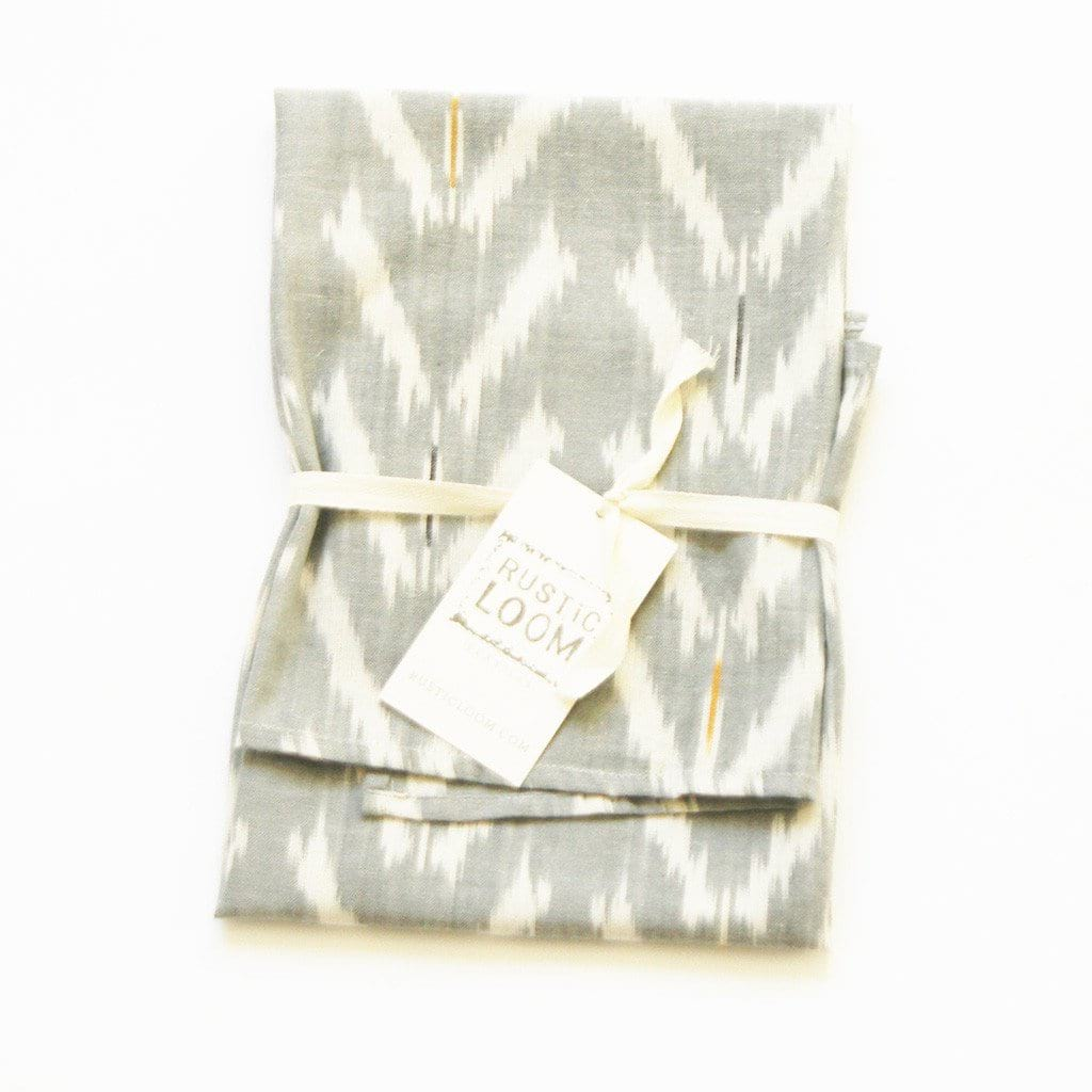 Handwoven Cotton Ikat Tea Towel Grey Tulip