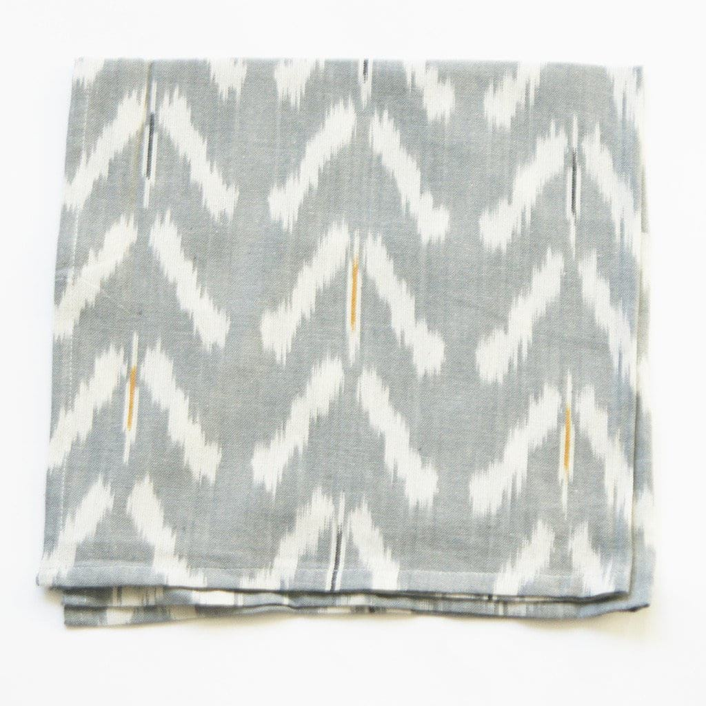 Grey Tulip Pattern Ikat Cloth Dinner Napkin Set of 4