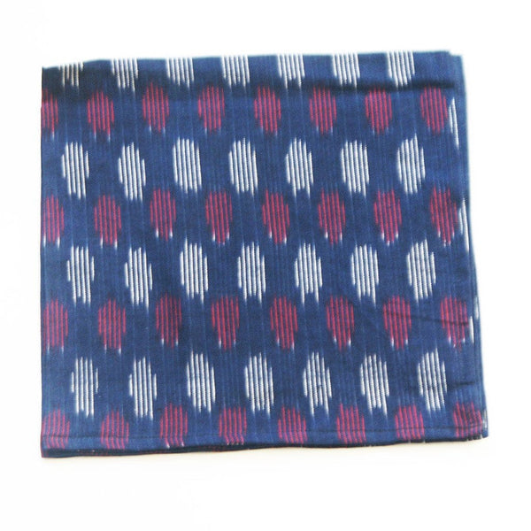 Navy Modern Dot Ikat Cloth Dinner Napkin Set of 4