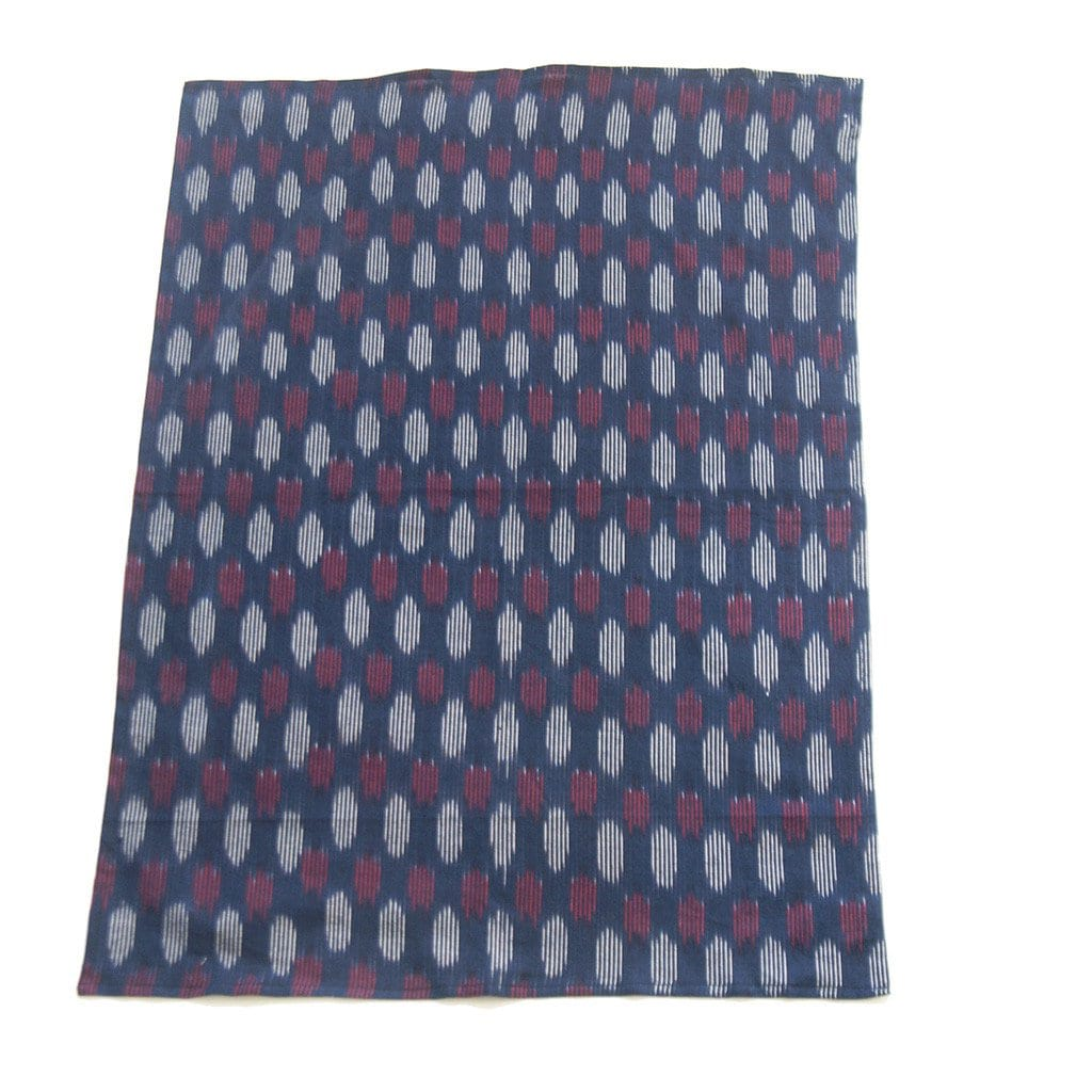 Navy Modern Dot Kitchen Tea Towel Cotton Handwoven Ikat