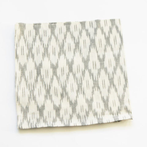 Handwoven Ikat Cloth Dinner Napkin White Ogee Set of 4