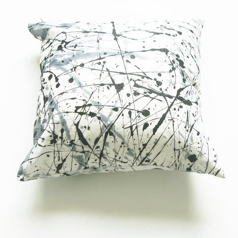 White Black Splatter Paint African Batik Linen Square Pillow