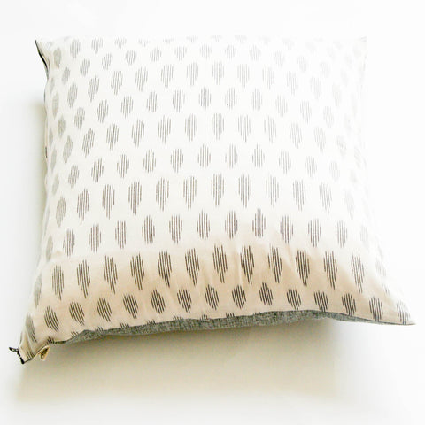 Handwoven Cotton Ikat Throw Pillow Grey Pattern