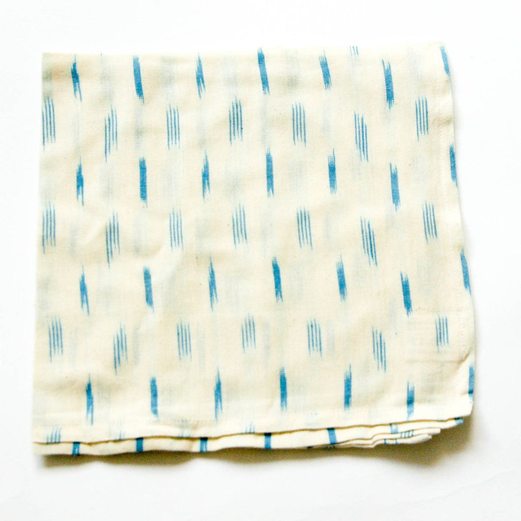 Handwoven Cotton Ikat Cloth Dinner White Blue Dash Napkins Set