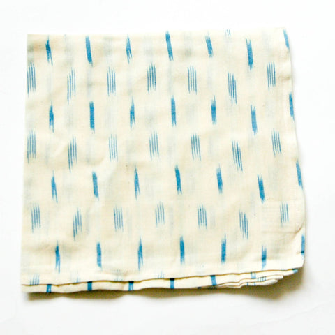 Handwoven Cotton Ikat Cloth Dinner Napkins Set of 4- White Blue Dash