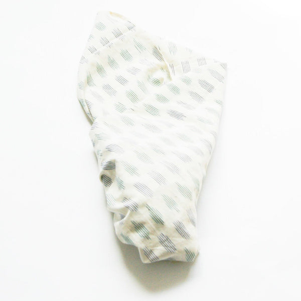 White Blue Green Dot Baby Swaddle Handwoven Ikat Blanket