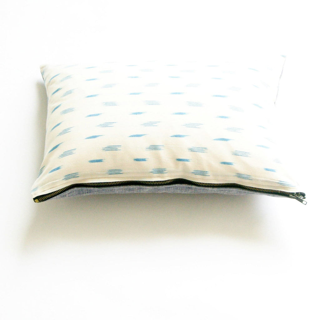 White Blue Dot Handwoven Cotton Ikat Lumbar Pillow