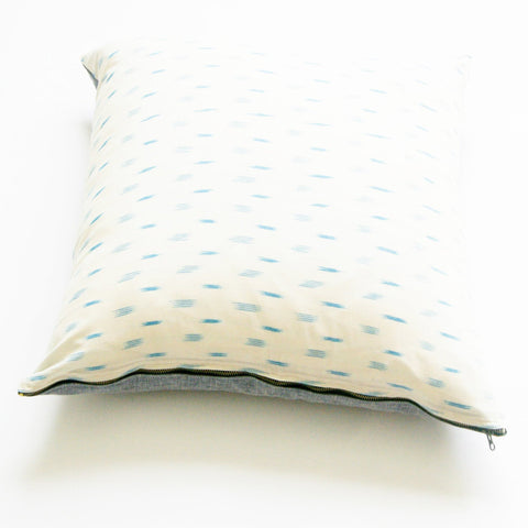 Handwoven Cotton Ikat Throw Pillow White Blue Dash