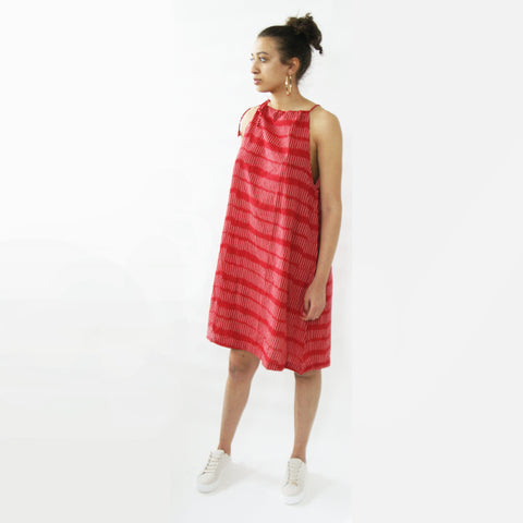 Red Cotton Stripe Swing Dress Artisan Made Ikat