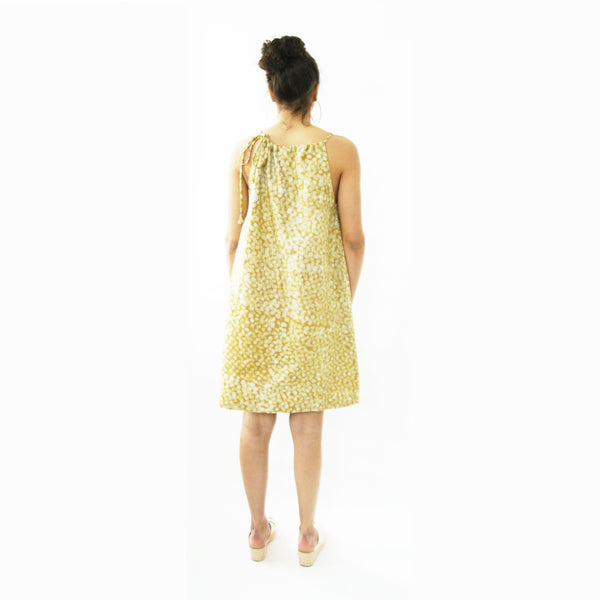 Maize Yellow Linen Dot Summer Swing Dress Artisan Made Batik