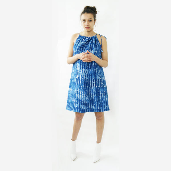 Indigo Blue Linen Thin Stripe Summer Swing Dress Artisan Made Batik