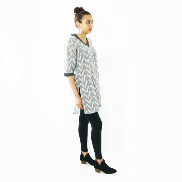 Grey Tulip Cotton Tunic Top Artisan Made Ikat