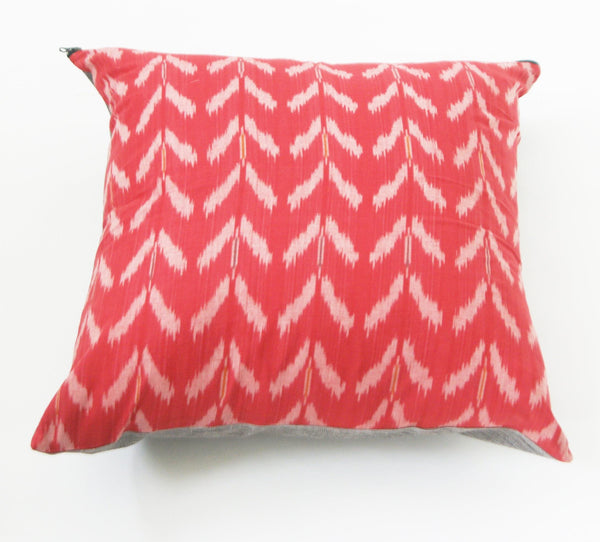 Orange Tulip Cotton Ikat Cushion Cover