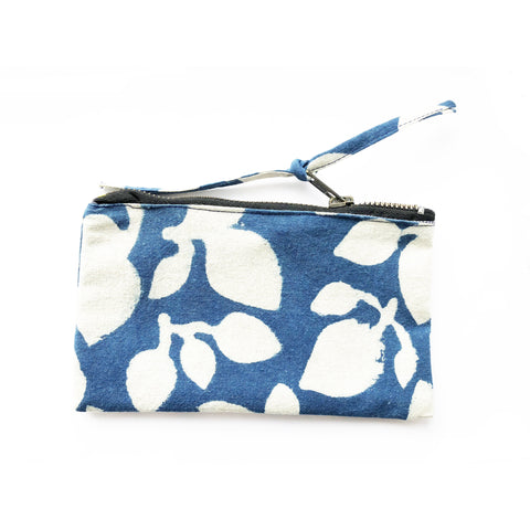 Indigo Blue Leaf Small Zipper Pouch Coin Purse Navy Blue Leaf Wallet