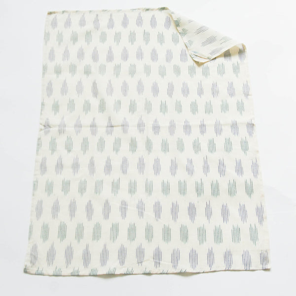 Handwoven Cotton Ikat Tea Towel White Blue Green Modern Dot