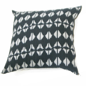 Black Triangle Ikat Cotton Throw Pillow 22 x 22 Square